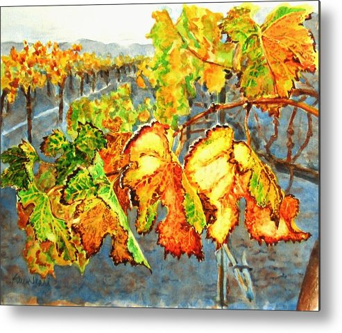 Vineyard Metal Print featuring the painting After The Harvest by Karen Ilari