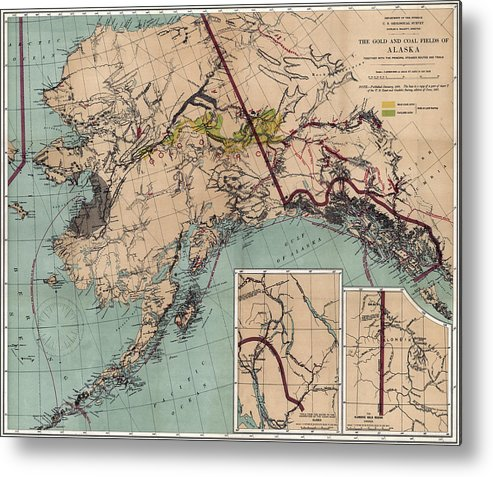 picture about Printable Map of Alaska referred to as Alaska Coal And Gold Map 1898 Metallic Print