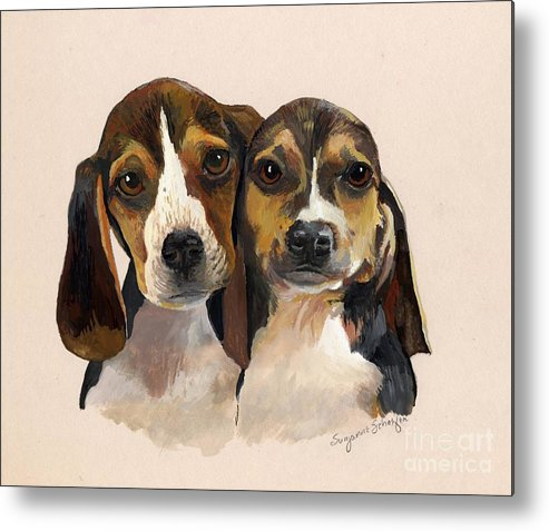 Dogs Metal Print featuring the painting Beagle Babies by Suzanne Schaefer