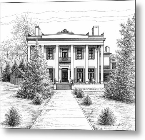 Pen Metal Print featuring the drawing Belle Meade Plantation by Janet King