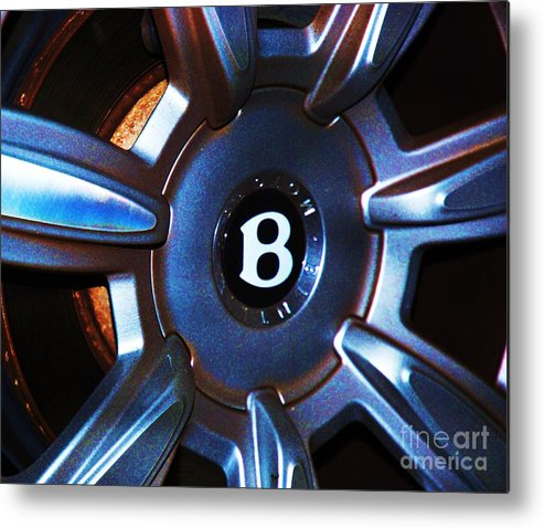 Automotive Art Photgraphy Bentloey Photography Stock Shot Photography Hub Cap Photography Iconic Image Photography Bentley Logo Stainless Steel Hub Cap Iconic Logo Luxury Car Metal Frame Highly Recommended Greeting Card For A Car Buff Automotive Art For A Den Iphone Case Art Metal Print featuring the photograph Bentley Hub Cap by Marcus Dagan