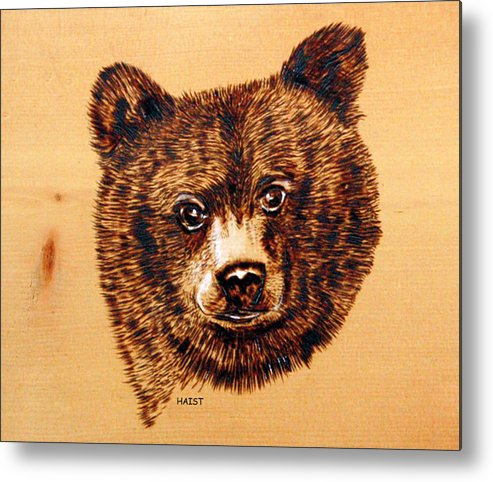 Bear Metal Print featuring the pyrography Black Bear Cub by Ron Haist