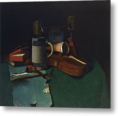 John Frederick Peto Metal Print featuring the painting Books Mug Pipe And Violin by John Frederick Peto