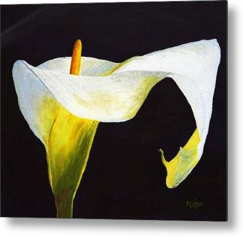 Close-up Metal Print featuring the painting Calla Lily by Bruce Combs - REACH BEYOND