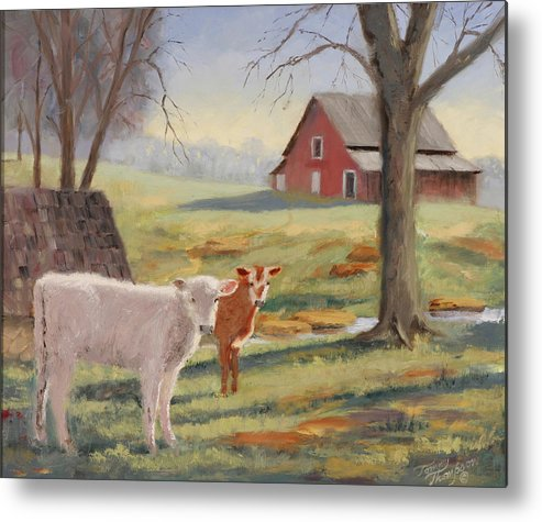Landscape Metal Print featuring the painting Calves At The Spring House by Tommy Thompson