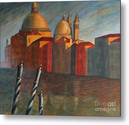 Canale Grande Metal Print featuring the painting Canale Grande Venice by Christiane Schulze Art And Photography