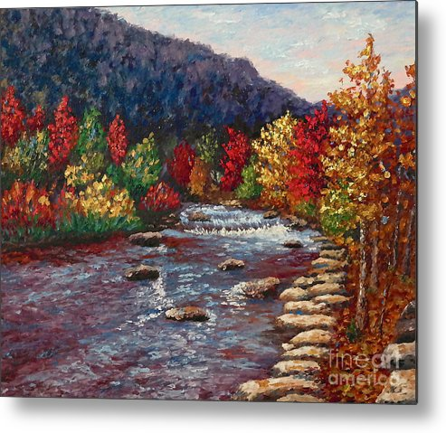 Landscape Metal Print featuring the painting Clear Creek In Golden Colorado by Francesca Kee