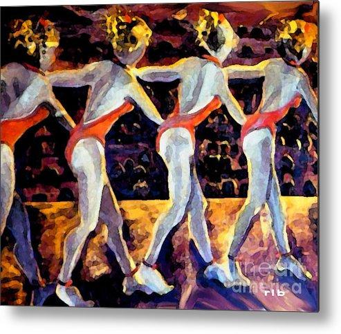 Dancing Metal Print featuring the painting Dancing Girls by Rita Brown
