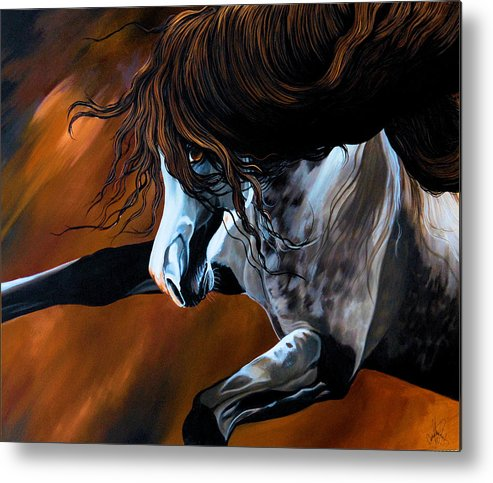 Painting Metal Print featuring the painting Dream Horse Series 155 - Wild Mustang Pawing The Air by Cheryl Poland