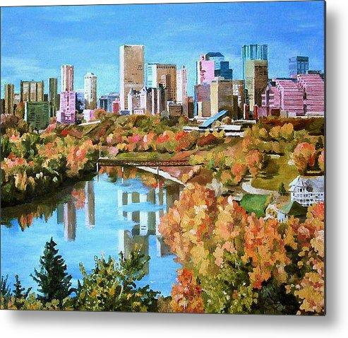Edmonton Metal Print featuring the painting Edmonton In Fall by Nel Kwiatkowska