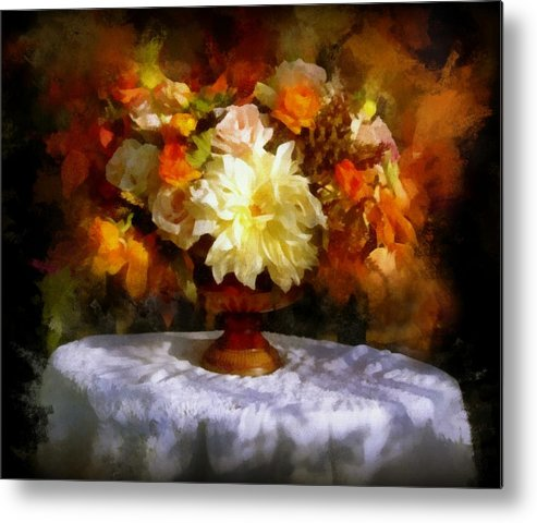 Flowers Metal Print featuring the painting First Day Of Autumn - Still Life by Lilia D