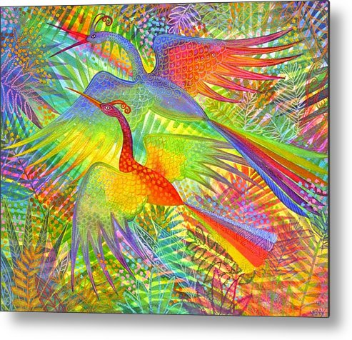 Exotic Birds Rain Forest Rainbow Colours Jungle Tropical Metal Print featuring the painting Flight Of Colour And Bliss by Jennifer Baird