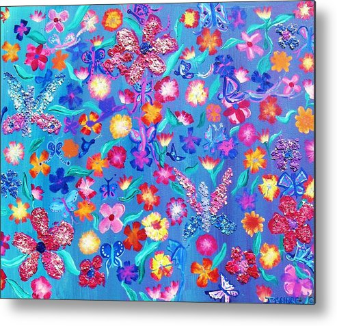 Floral Metal Print featuring the painting Flowers And Butterflies by J Andrel