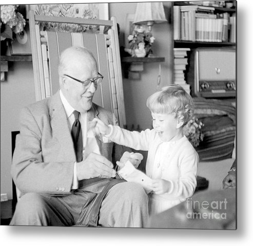 Grandfather Metal Print featuring the photograph Grandfather Plays With Child by Julie Von Knorr Wedekind
