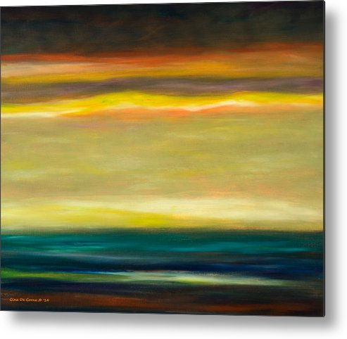 Brown Metal Print featuring the painting Horizons by Gina De Gorna