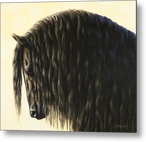 Horse Metal Print featuring the painting Horse Painting - Friesland Nobility by Crista Forest