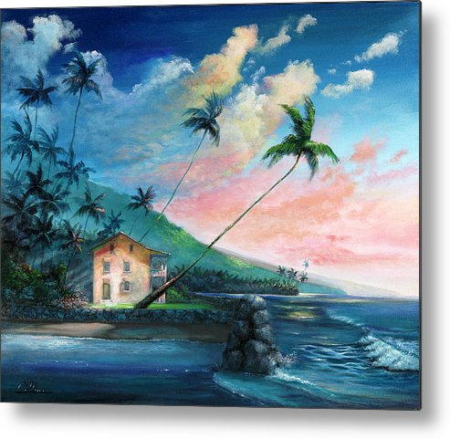 Hawaii Metal Print featuring the painting Hulihe'e Palace by John Collins