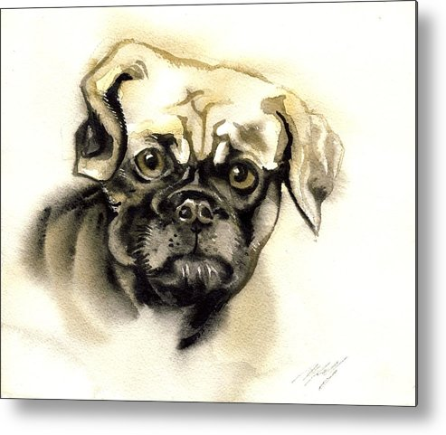 Dog Metal Print featuring the painting I Am Worry by Alfred Ng