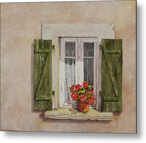 Watercolor Metal Print featuring the painting Irvillac Window by Mary Ellen Mueller Legault