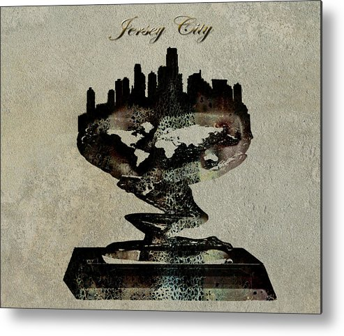 Jersey City Metal Print featuring the digital art Jersey City Skyline by Brian Reaves
