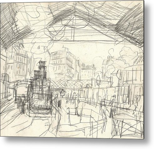 French Metal Print featuring the drawing La Gare Saint Lazare by Claude Monet