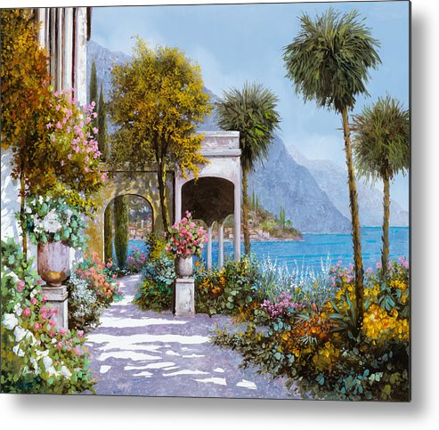 Lake Metal Print featuring the painting Lake Como-la Passeggiata Al Lago by Guido Borelli