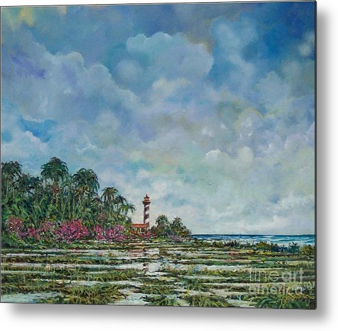 Nature Metal Print featuring the painting Lighthouse by Sinisa Saratlic
