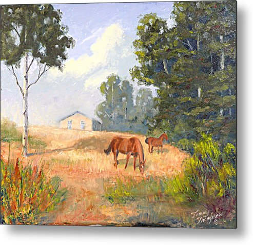 Landscape Metal Print featuring the painting Mainely Grazing by Tommy Thompson