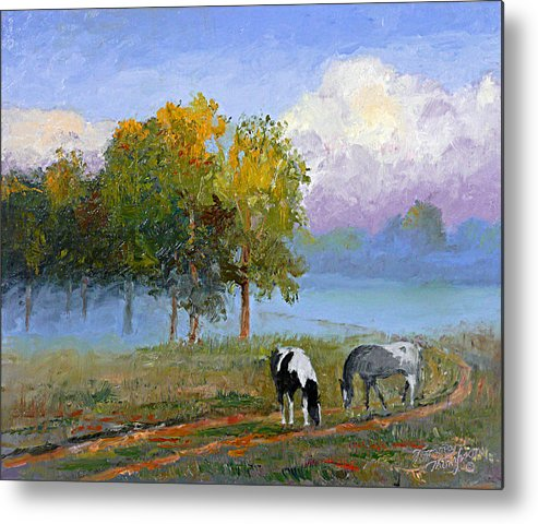 Landscape Metal Print featuring the painting Morning At Foggy Bottom by Tommy Thompson