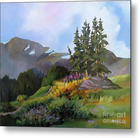 Landscape Metal Print featuring the painting Mt. Rainier 2 by Marta Styk