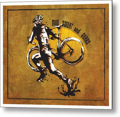 Cyclocross Illustration Metal Print featuring the painting Mud Sweat And Gears by Sassan Filsoof