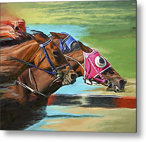 Horses Metal Print featuring the painting Nikita By A Head by David Wagner