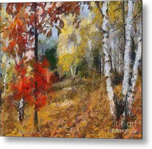 Landscape Metal Print featuring the painting On The Edge Of The Forest by Dragica Micki Fortuna