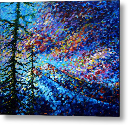 Abstract Metal Print featuring the painting Original Abstract Impressionist Landscape Contemporary Art By Madart Mountain Glory by Megan Duncanson