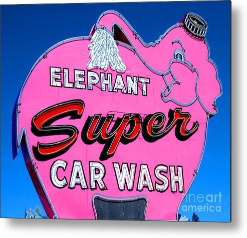 Elephant Metal Print featuring the photograph Elephant Super Car Wash Sign Seattle Washington by Tap On Photo