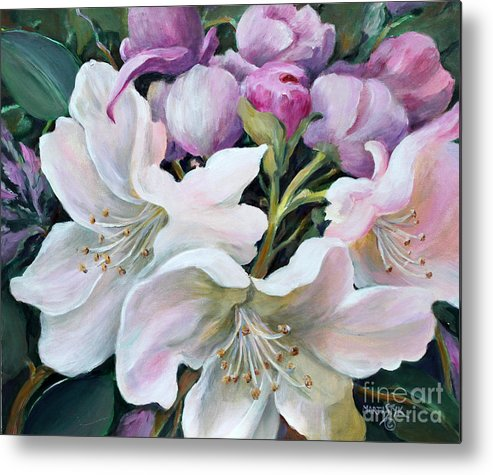 Flowers Metal Print featuring the painting Rhododendron by Marta Styk
