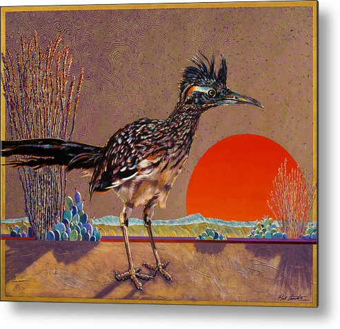 Bird Metal Print featuring the painting Road Runner At Sundown by Bob Coonts