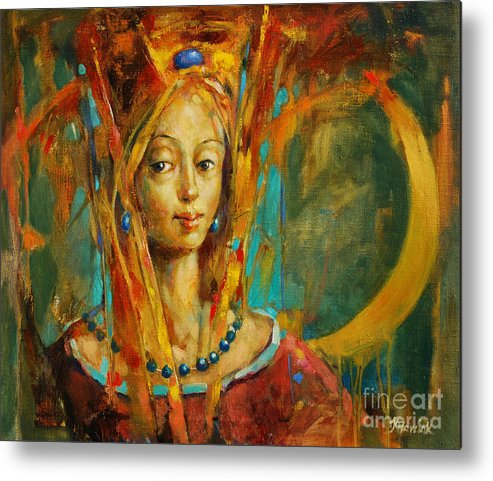 Royal Muse Metal Print featuring the painting Royal Muse by Michal Kwarciak
