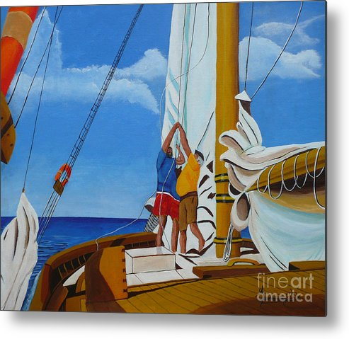 Sail Metal Print featuring the painting Setting Sail by Anthony Dunphy