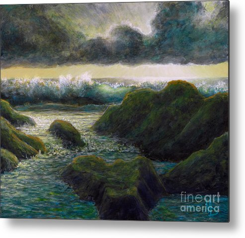 Ocean Scene Metal Print featuring the painting Silver Lining by Marc Dmytryshyn