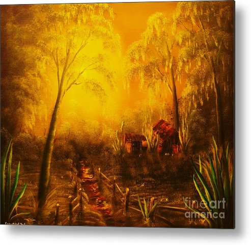 Landscape Metal Print featuring the painting Southern Woods -original Sold- Buy Giclee Print Nr 36 Of Limited Edition Of 40 Prints  by Eddie Michael Beck