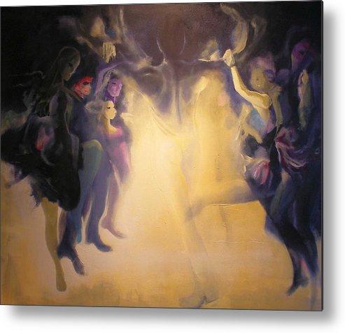 Light Dance Dancing Irish Spirits Silhouette High Key Metal Print featuring the painting Spirits by Georg Douglas