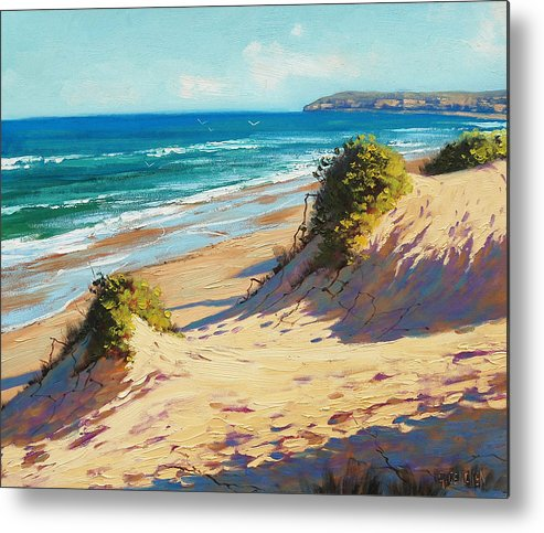 Seascape Metal Print featuring the painting Summer Day The Entrance by Graham Gercken