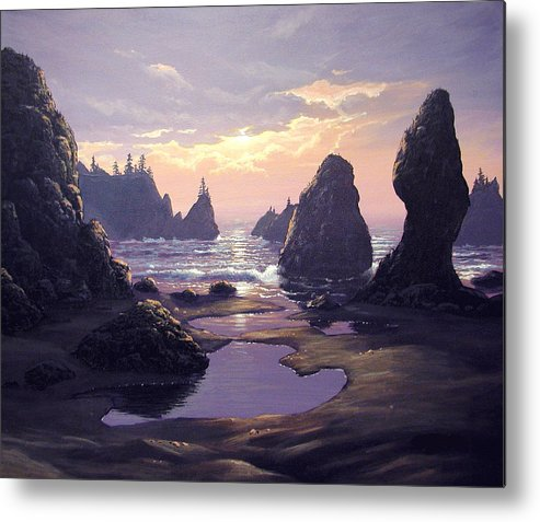Ocean Metal Print featuring the painting Sunset At Point Of The Arches by Ian Henderson
