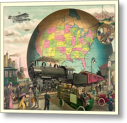 Antique Metal Print featuring the digital art Transportation by Gary Grayson