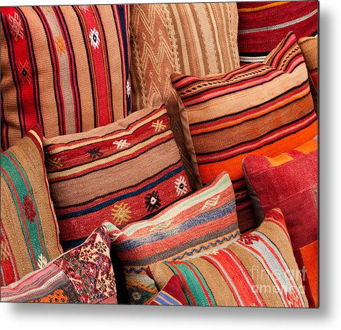 Traditional Metal Print featuring the photograph Turkish Cushions 02 by Rick Piper Photography