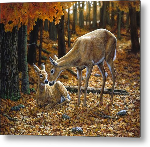 Deer Metal Print featuring the painting Whitetail Deer - Autumn Innocence 2 by Crista Forest