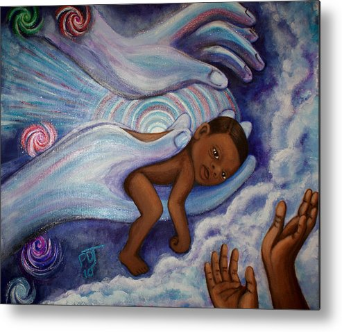 Newborn Metal Print featuring the painting Who Will Tend This Flame by Pamorama Jones