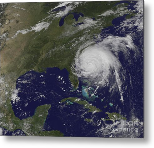 East Coast Metal Print featuring the photograph Satellite View Of Hurricane Irene by Stocktrek Images
