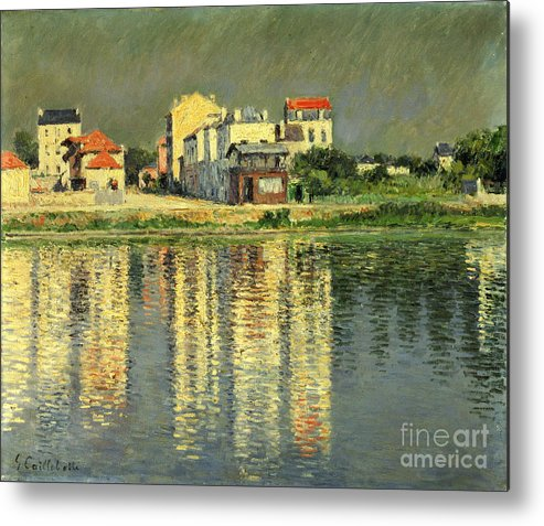 Bord De La Seine A Argenteuil Metal Print featuring the painting Banks Of The Seine At Argenteuil by Gustave Caillebotte